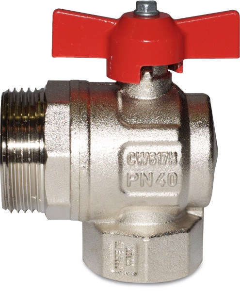 Angle ball valve without union, full flow manifolds