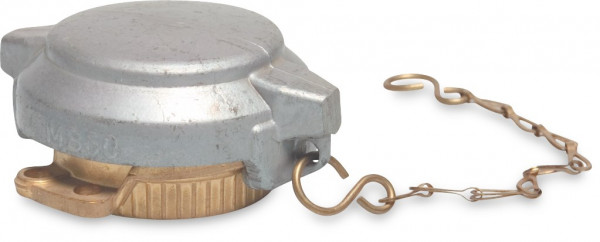 Tanker end cap coupling with chain and aluminium lid